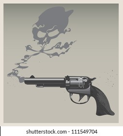 A revolver with a smoke cloud of skull and cross bones billowing out of the barrel.