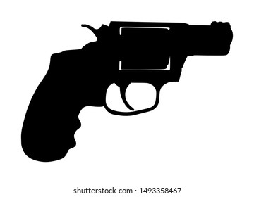 Revolver symbol. Pistol Gun Vector silhouette isolated on white background. Risk in conflict situation. police and military weapon. Defense help option against enemy aggressor.