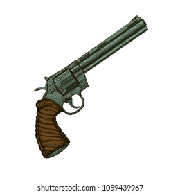 Revolver. Vector illustration isolated on white background for tattoos, printing on T-shirts and other items.