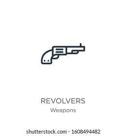Revolvers icon. Thin linear revolvers outline icon isolated on white background from weapons collection. Line vector sign, symbol for web and mobile