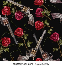 Revolvers and spring roses. Symbol of romanticism and crime. Seamless pattern. Embroidery crossed guns and flowers. Template for clothes, textiles, t-shirt design