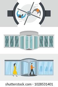 Revolving door banner concept set. Flat illustration of 3 revolving door vector banner horizontal concepts for web