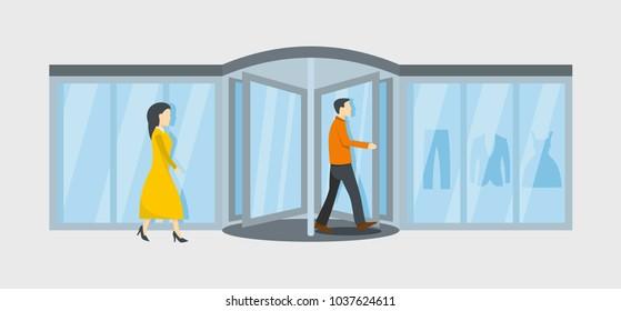 Revolving door banner. Flat illustration of revolving door vector banner for web