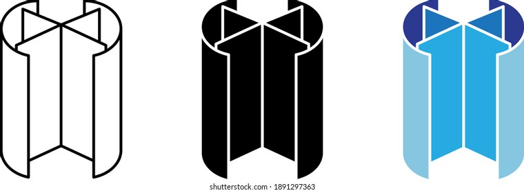 Revolving door icon, line vector illustration