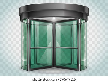Revolving door shopping center, railway station . Vector graphics with transparency effects