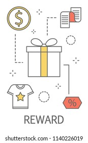 Reward concept. Purchase and earn money or get another bonus. Idea of loyalty program. Line icon set with gift, coin and t-shirt. Isolated vector illustration