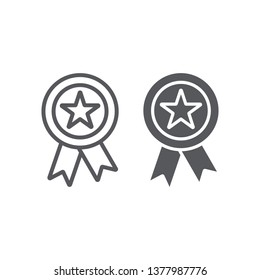 Reward line and glyph icon, badge and medal, award sign, vector graphics, a linear pattern on a white background, eps 10.