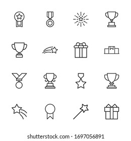 reward line icons set. Stroke vector elements for trendy design. Simple pictograms for mobile concept and web apps. Vector line icons isolated on a white background.