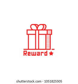 Reward logo like thin line giftbox. linear simple style trend modern stroke red logotype graphic art design isolated on white. concept of closed wrapping gift box in front view and xmas present