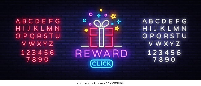 Reward Neon Sign Vector. Gift neon sign, Win super prize design template, modern trend design, night neon signboard, night bright advertising, light banner, light art. Vector. Editing text neon sign