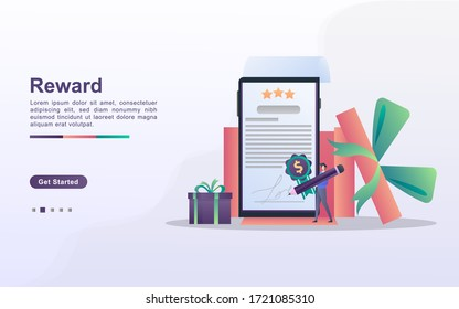 Reward program and get gift concept. People win sweepstakes, cash back programs, rewards for loyal customers, attractive offers. Can use for web landing page, banner, mobile app. Vector Illustration