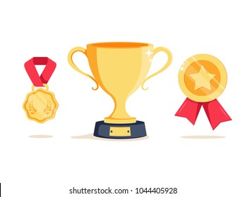 Reward program winner cup and first place bowl game trophy. Win super prize achievement and accomplishment concept. Earn points for medal vector illustration icon in flat style. Golden goblet