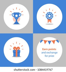 Reward program, winner cup, first place bowl, game trophy, win super prize, achievement and accomplishment concept, earn points, gift and medal vector icon, flat illustration