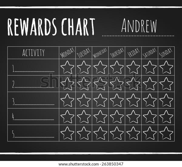 rewards chart on chalk blackboard