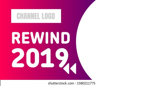 rewind 2019 video cover thumbnails. pink and purple background