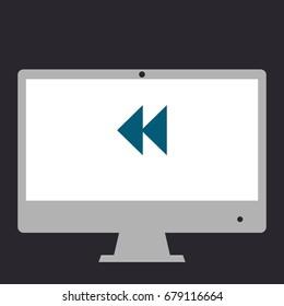 Rewind back. Simple flat symbol icon on monitor. Vector illustration pictogram