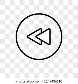 Rewind Circular Button vector icon on transparent background, Rewind Circular Button icon