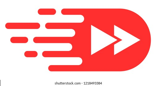 Rewind forward icon with fast speed effect. Vector illustration designed for modern abstract with symbols of speed, rush, progress, energy. Fast rewind forward movement symbol on a white background.