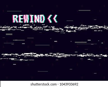 Rewind glitch background. Retro VHS template for design. Glitched lines noise. Pixel art 8 bit style. Vector illustration.