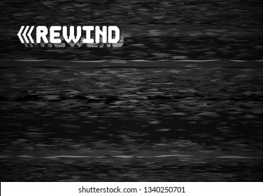 Rewind glitch screen. Retro television glitched vhs defect, glitches rewinds noise. White noise video error, vhs rewind pixel distortion graphic vector background illustration