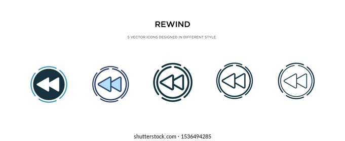 rewind icon in different style vector illustration. two colored and black rewind vector icons designed in filled, outline, line and stroke style can be used for web, mobile, ui