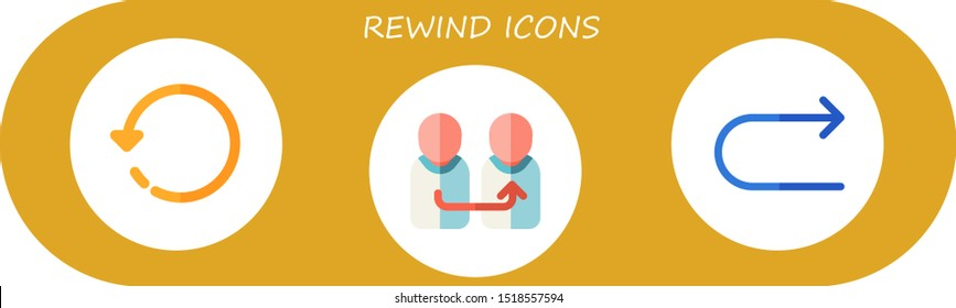 rewind icon set. 3 flat rewind icons.  Simple modern icons about  - rotate, change, redo