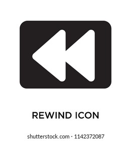 Rewind icon vector isolated on white background for your web and mobile app design, Rewind logo concept