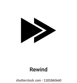 Rewind icon vector isolated on white background, logo concept of Rewind sign on transparent background, filled black symbol