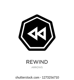 rewind icon vector on white background, rewind trendy filled icons from Arrows collection, rewind simple element illustration