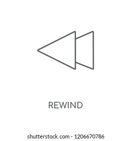 Rewind linear icon. Rewind concept stroke symbol design. Thin graphic elements vector illustration, outline pattern on a white background, eps 10.
