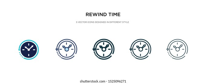 rewind time icon in different style vector illustration. two colored and black rewind time vector icons designed in filled, outline, line and stroke style can be used for web, mobile, ui