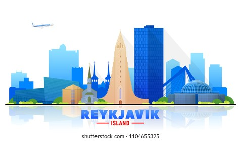 Reykjavik Iceland skyline with panorama in white background. Vector Illustration. Business travel and tourism concept with modern buildings. Image for banner or web site.