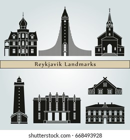 Reykjavik landmarks and monuments isolated on blue background in editable vector file