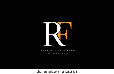 RF FR abstract vector logo monogram template