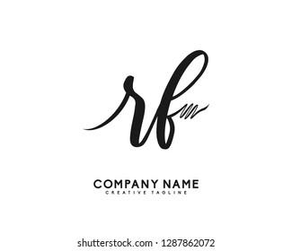 RF Initial Handwriting Logo Template Vector
