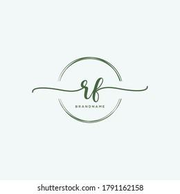 RF Initial handwriting logo vector