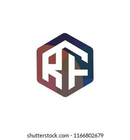 RF Initial letter hexagonal logo vector