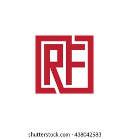 RF initial letters looping linked square logo red
