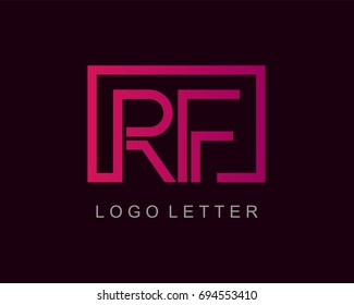 RF Logo letter design vector with box