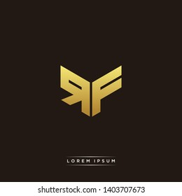 RF Logo Letter Initial Logo Designs Templete with Gold and Black Background