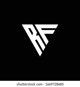 RF Logo letter monogram with triangle shape design template isolated on black background