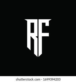 RF logo monogram with emblem shield style design template