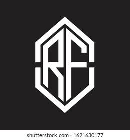 RF Logo monogram with hexagon shape and outline slice style with black and white
