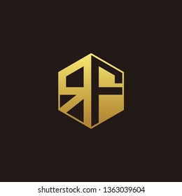 RF Logo Monogram with Negative space gold colors