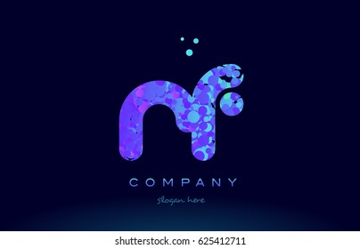rf r f alphabet pink blue bubble circle dots creative letter company logo vector icon design template