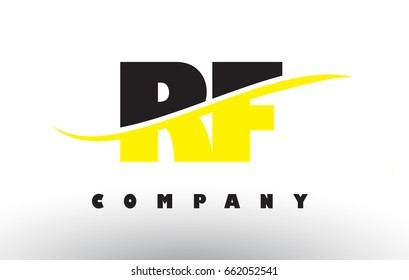 RF R F  Black and Yellow Letter Logo with White Swoosh and Curved Lines.