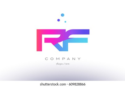 rf r f  creative pink purple blue modern dots creative alphabet gradient company letter logo design vector icon template