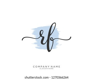 RF R F Initial handwriting logo vector