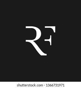 RF or R F letter alphabet logo design in vector format.