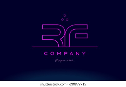 rf r f letter alphabet text pink purple dots contour line creative company logo vector icon design template